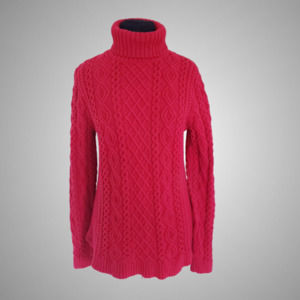 Lands End M Red Cable Knit Turtleneck